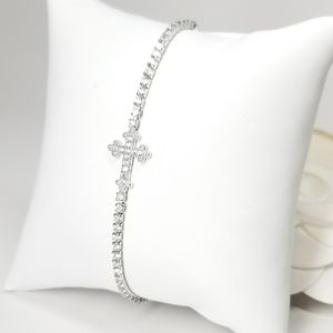 New Side Cross Pave CZ Tennis Bracelet Slider